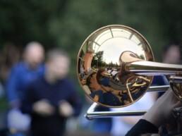 Zdjęcie, puzon muzyka z orkiestry dętej