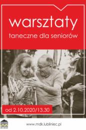 Grafika promująca warsztaty taneczne dla seniorów