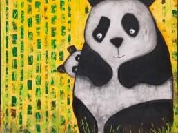 Obraz; mama panda i dziecko panda