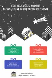 Plakat informujący o27. konkursie plastycznym nakartkę bożonarodzeniową organizowany przezMDK Lubliniec