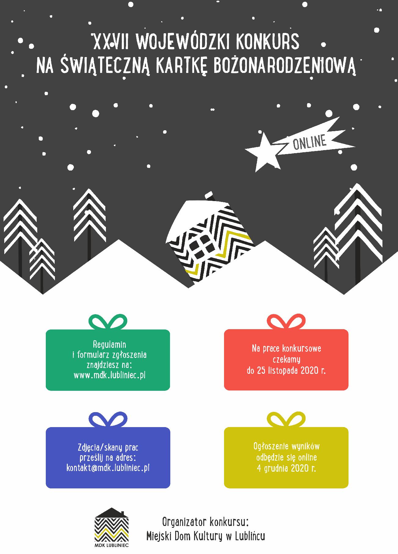 Plakat informujący o 27. konkursie plastycznym na kartkę bożonarodzeniową organizowany przez MDK Lubliniec
