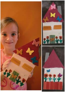 Kolaż 3 zdjęć; na jednym z nich dziewczynka trzyma w rękach wykonany przez siebie drewniany domek, przyozdobiony kwiatkami i motylkami; pozostałe dwa zdjęcia to zdjęcia przygotowanego przez dziewczynkę domku