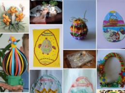 Kolaż zdjęć, na których znajdują się kolorowe pisanki wykonane przez dzieci